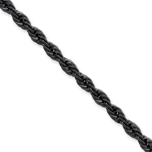 18in Stainless Steel Black-Plated Rope Chain 4mm