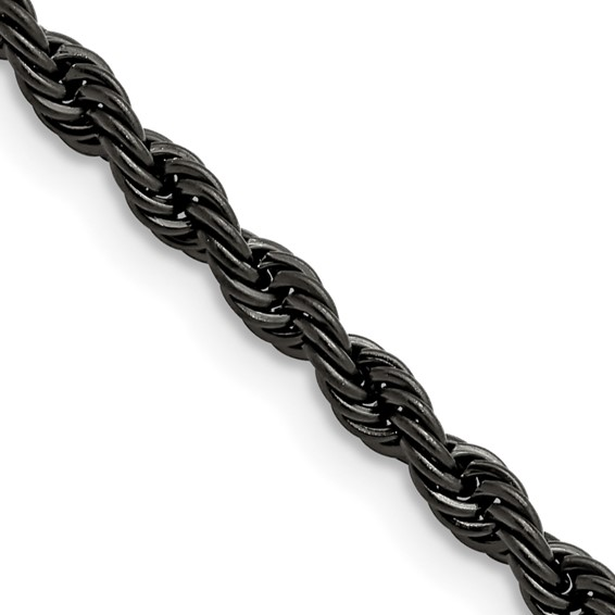 24in Stainless Steel Black-Plated Rope Chain 4mm