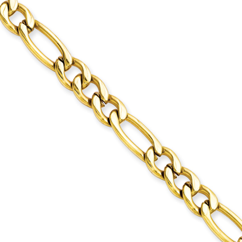 Gold-Plated Stainless Steel 24in Figaro Chain 6.3mm