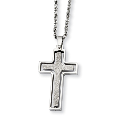 Stainless Steel 1 1/2in Moveable Cross on 22in Necklace