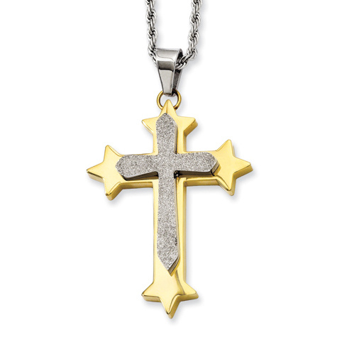 Stainless Steel 1 3/4in Gold-Plated Brushed Cross on 24in Necklace