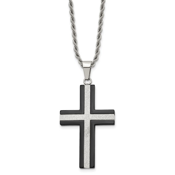 Stainless Steel 1 3/4in Black-plated Cross 24in Necklace