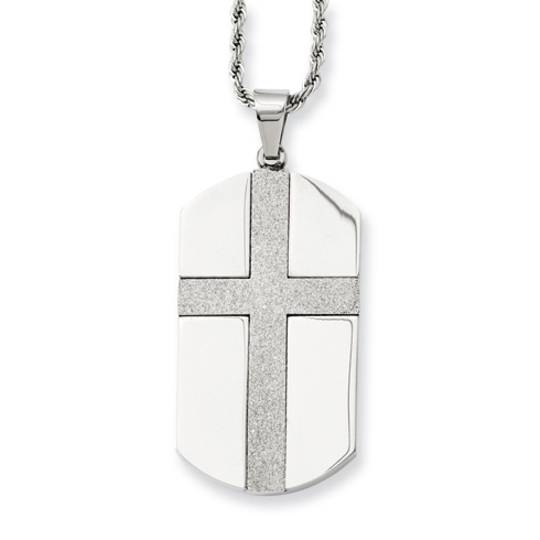 Stainless Steel 1 3/4in Brushed Dog Tag Cross Necklace