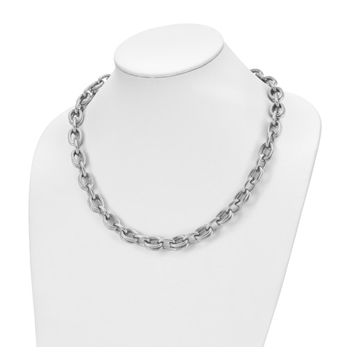 22in Stainless Steel Textured Link Necklace