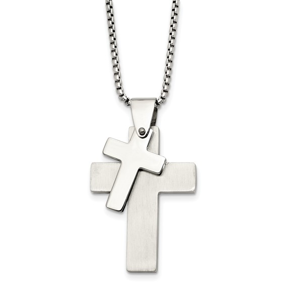 Stainless Steel Two Crosses on 24in Necklace