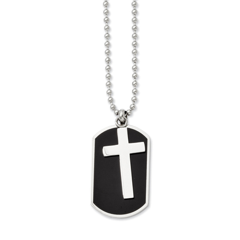 Stainless Steel 1 3/4in Black Plated Moveable Dog Tag Cross Necklace