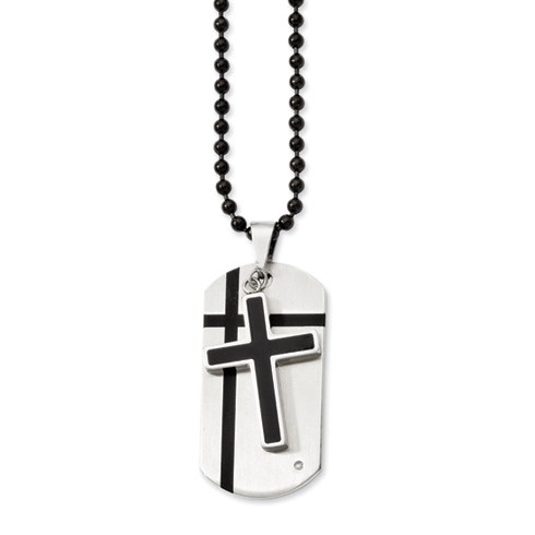 Stainless Steel 1 1/4in Black Enamel Moveable Dog Tag Cross Necklace