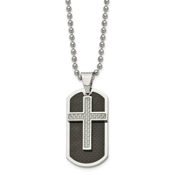 Stainless Steel 1 3/4in Black Carbon Fiber Moveable Dog Tag Cross Necklace