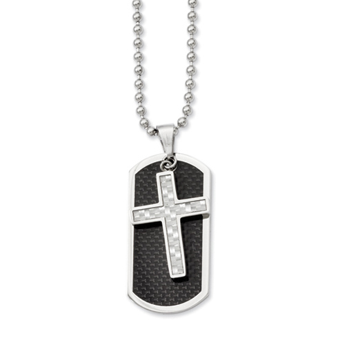 Stainless Steel 1 3/4in Carbon Fiber Moveable Dog Tag Cross Necklace