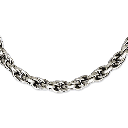 24in Stainless Steel Polished Oval Link Necklace
