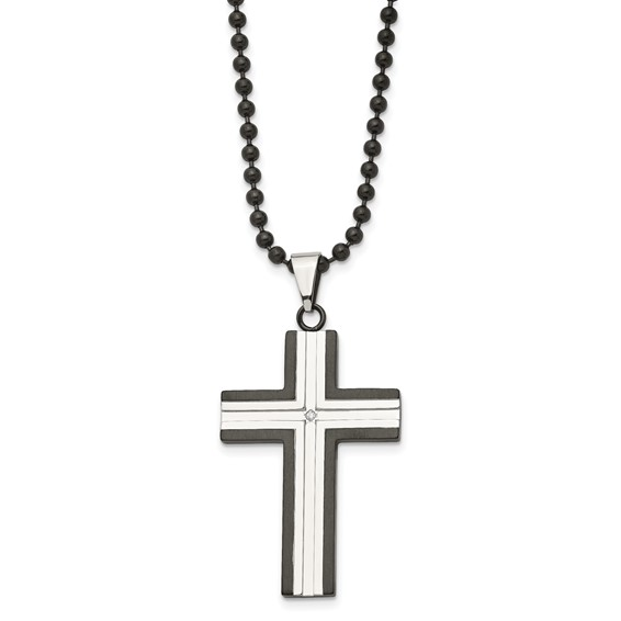 Stainless Steel 1 3/4in Black-plated Cross with CZ on 30in Chain