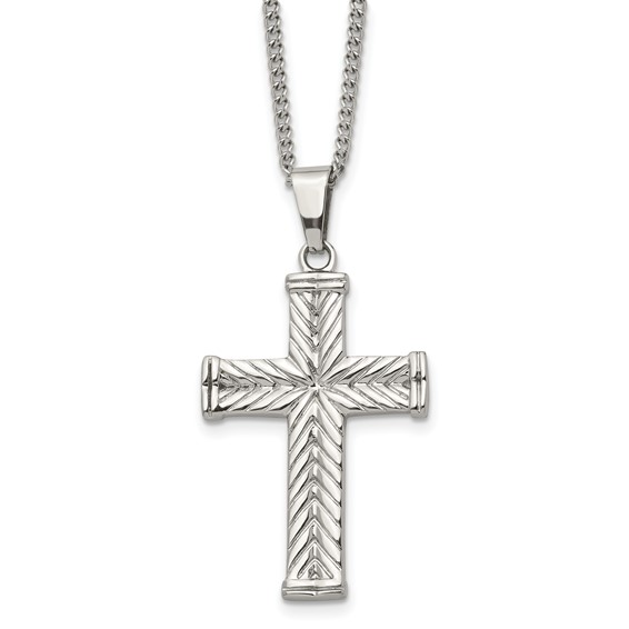 Stainless Steel 1 1/2in Textured Cross on 22in Necklace