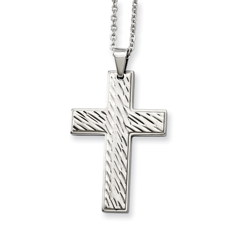 Stainless Steel 1 3/4in Textured Cross on 24in Necklace