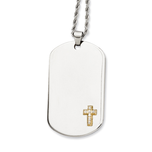 Stainless Steel 2in Dog Tag Cross Diamond Necklace