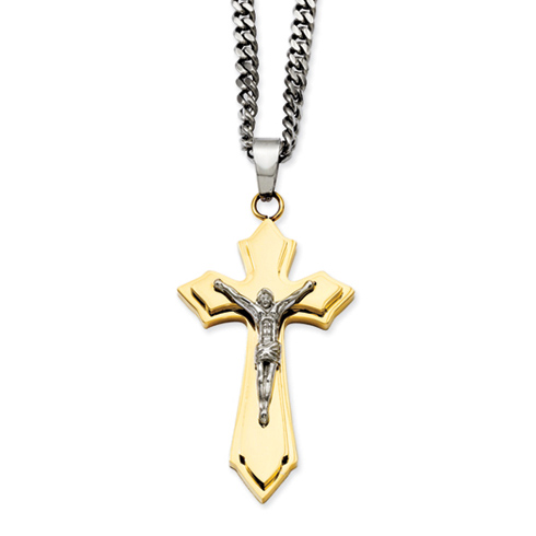 Stainless Steel 2in Gold-plated Crucifix Necklace