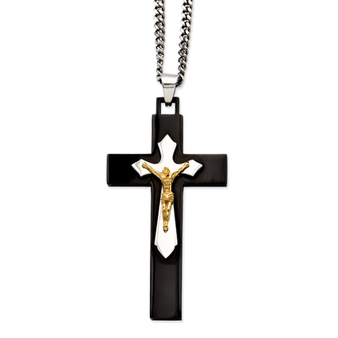 Stainless Steel 3in Black and Gold-plated Crucifix Necklace