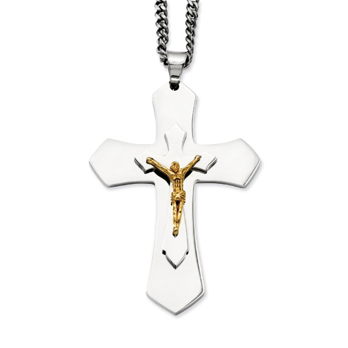 Stainless Steel 3in Gold-plated Pointed Crucifix Necklace