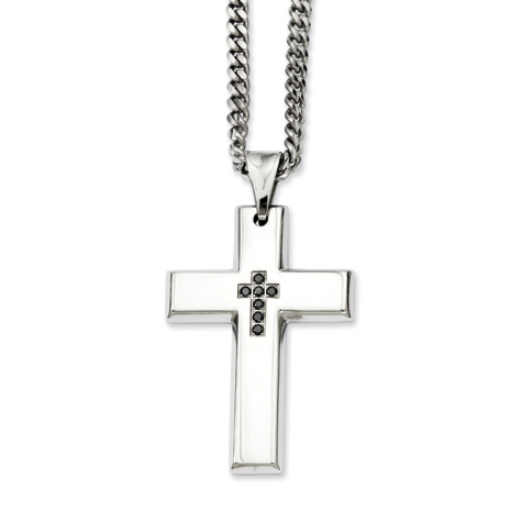 Stainless Steel 2in Black Diamond Cross on 22in Necklace
