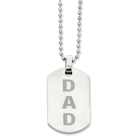 Stainless Steel DAD 24in Dog Tag Necklace