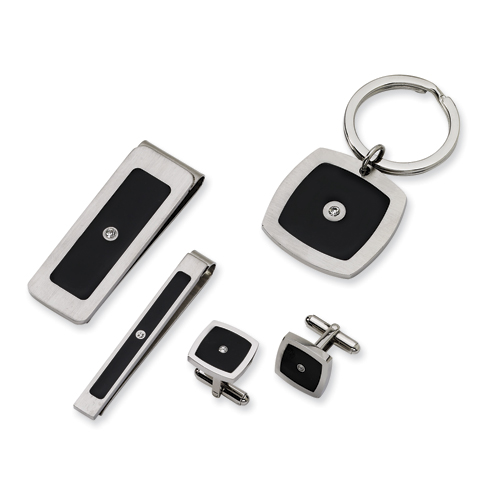 Steel CZ Cufflinks Tie Clip Money Clip Key Chain Set for Dad