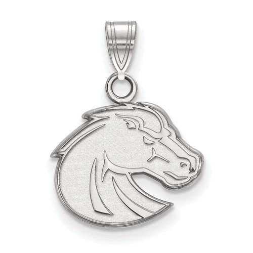 Boise State University Bronco Pendant 1/2in 10k White Gold