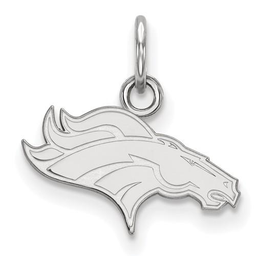 10k White Gold 1/2in Denver Broncos Logo Charm