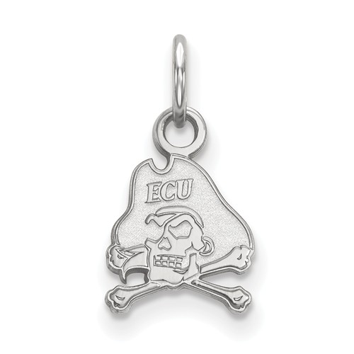 East Carolina University Skull and Bones Charm 3/8in 10k White Gold