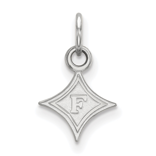 14k White Gold 3/8in Furman University Diamond Logo Charm