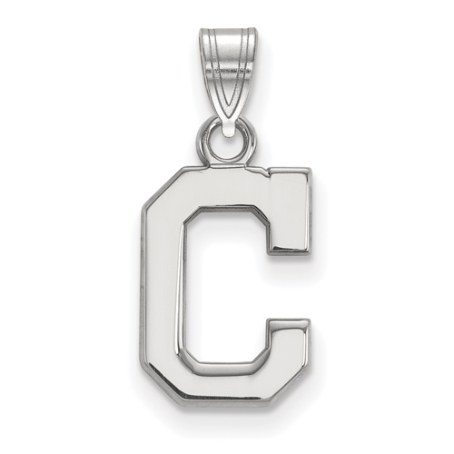 10k White Gold 1/2in Cleveland Indians C Pendant
