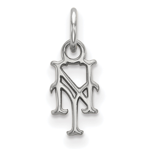 10kt White Gold 3/8in New York Mets NY Pendant