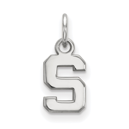 Sterling Silver 3/8in Michigan State University Block S Logo Pendant