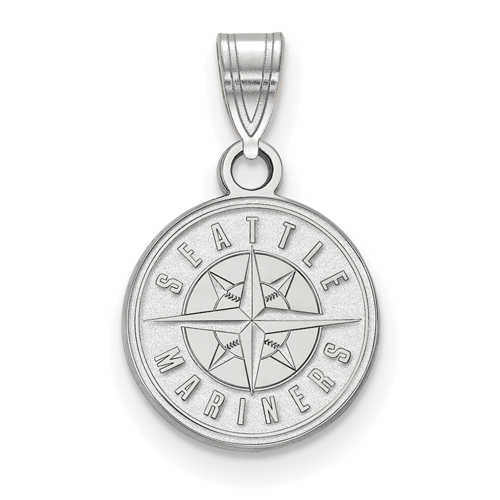 10k White Gold 1/2in Seattle Mariners Round Logo Pendant