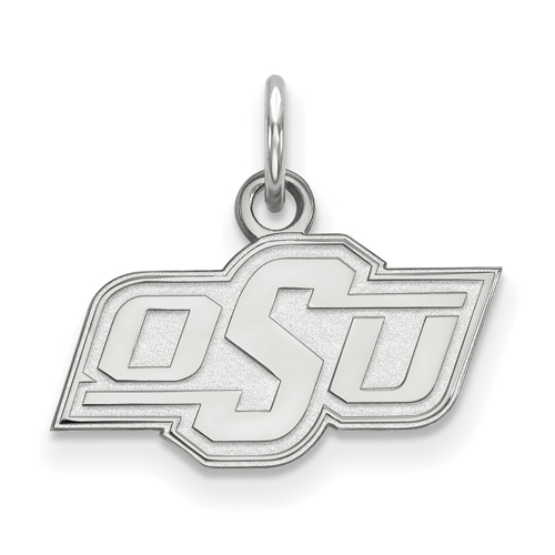 10kt White Gold 3/8in Oklahoma State University OSU Pendant