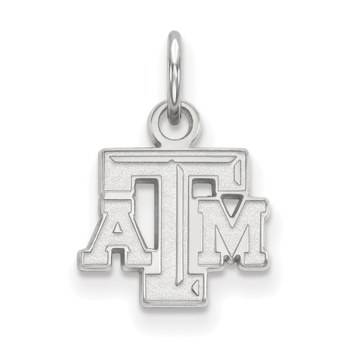 Sterling Silver 3/8in Texas A&M University Beveled Pendant