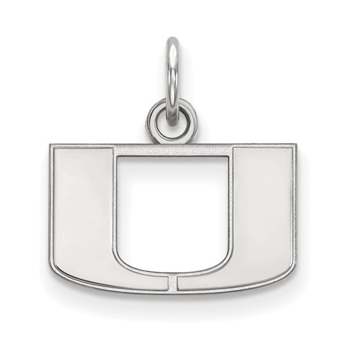 10kt White Gold 3/8in University of Miami U Logo Pendant