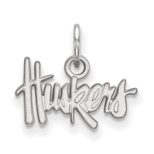 10kt White Gold 3/8in University of Nebraska Huskers Pendant