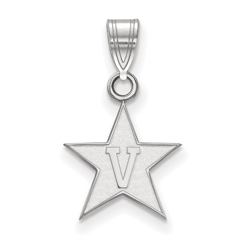 Vanderbilt University Star Pendant 1/2in 10k White Gold
