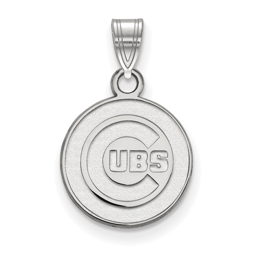14kt White Gold 1/2in Chicago Cubs Round Pendant