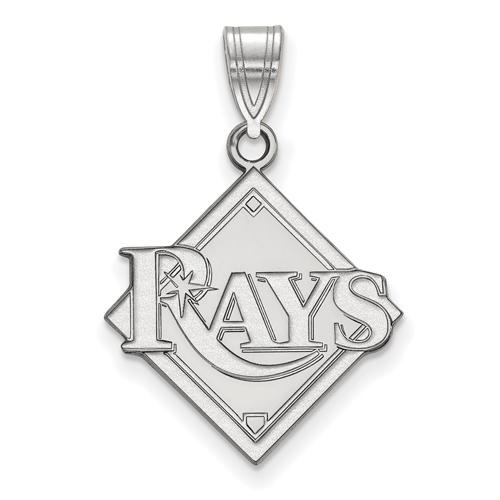 14k White Gold 3/4in Tampa Bay Rays Logo Pendant