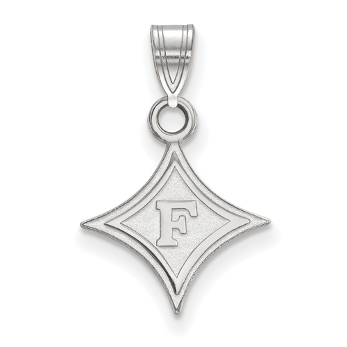 10k White Gold 1/2in Furman University Diamond Logo Pendant