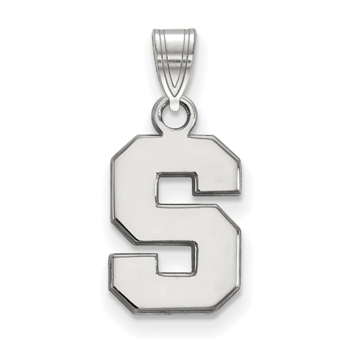 Sterling Silver 1/2in Michigan State University Block S Pendant