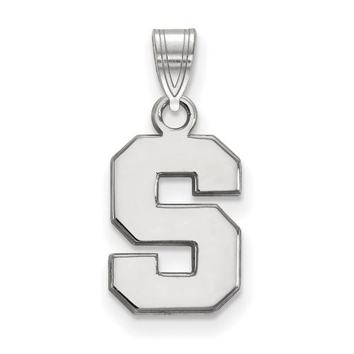 Sterling Silver 1/2in Michigan State University Block S Pendant