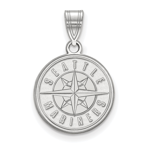 14k White Gold 5/8in Seattle Mariners Logo Pendant