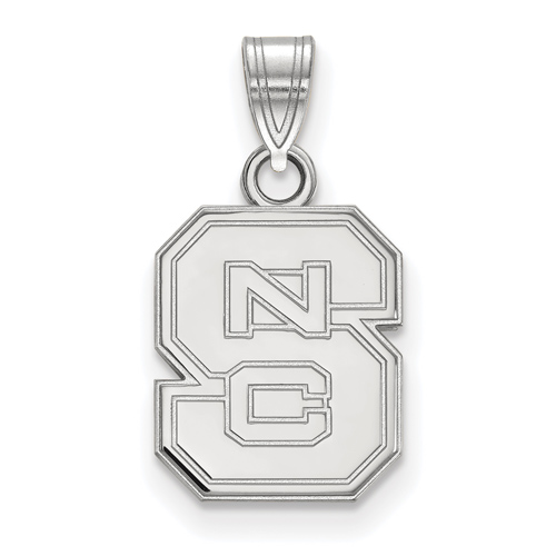 Sterling Silver 1/2in North Carolina State University Block S Pendant