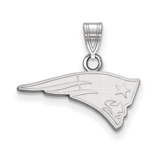 14k White Gold 3/4in New England Patriots Pendant