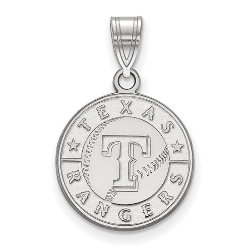 14k White Gold 5/8in Round Texas Rangers Baseball Pendant