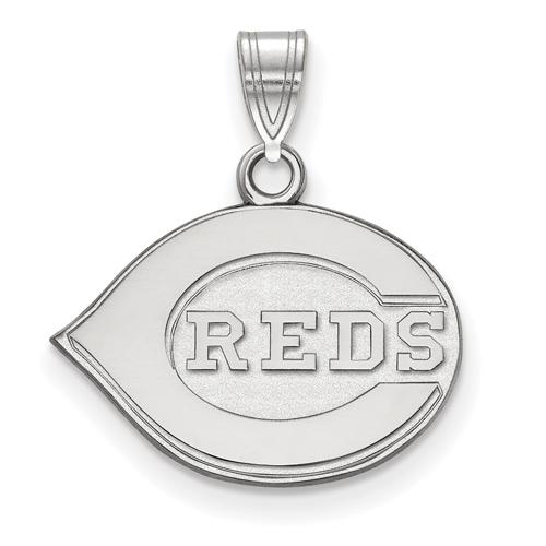 Sterling Silver 1/2in Cincinnati Reds Logo Pendant