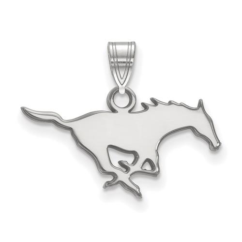 Southern Methodist University Mustang Pendant 3/4in 14k White Gold