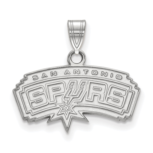 Sterling Silver 1/2in San Antonio Spurs Arched Pendant