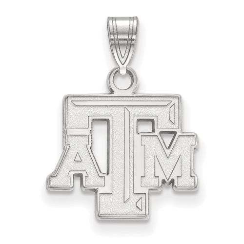 Sterling Silver 1/2in Texas A&M University Beveled Pendant